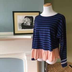 Deletta/Anthropologie Striped Top w/ Pink Flounce